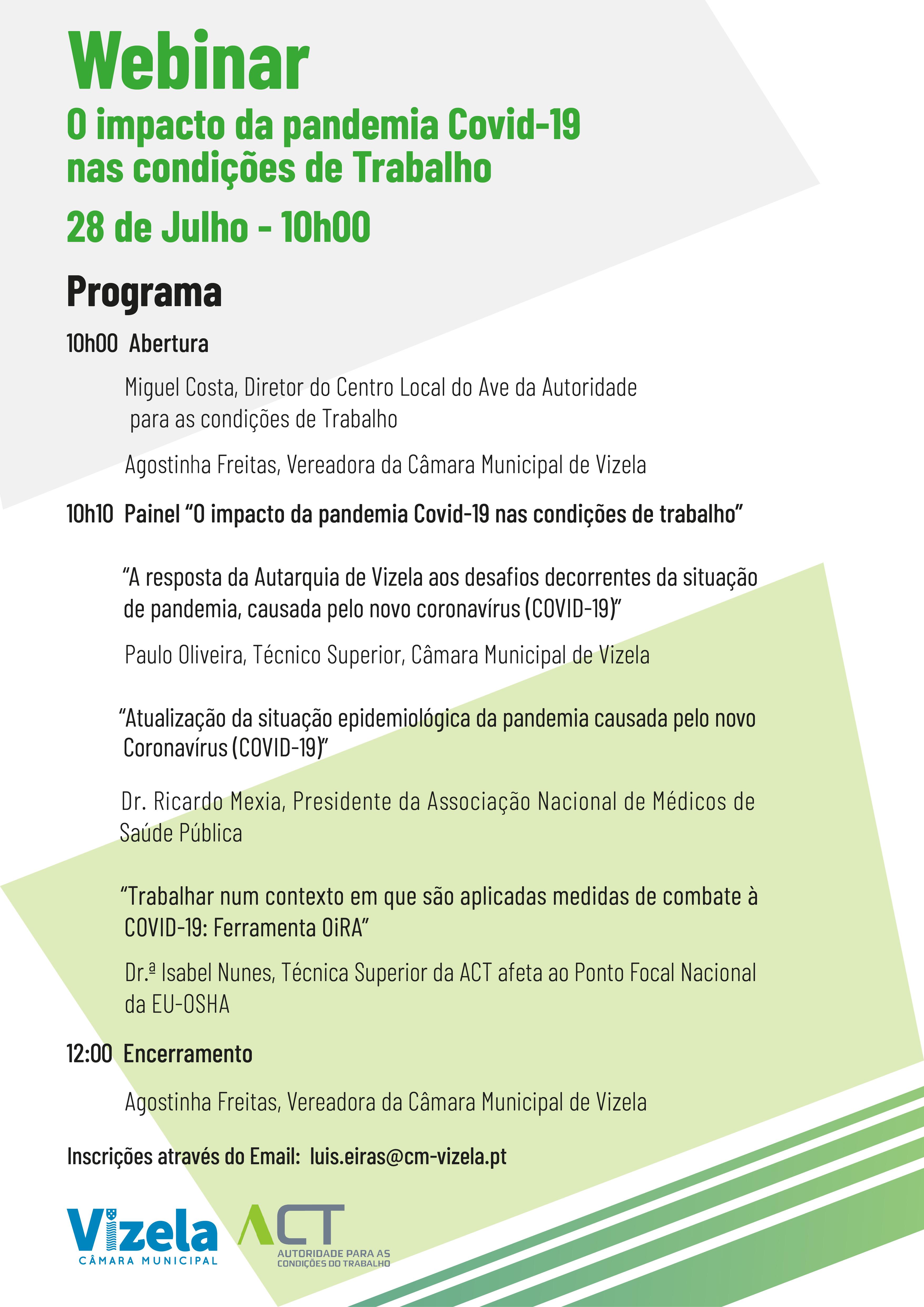 WEBINAR – O IMPACTO DA PANDEMIA COVID-19 NAS CONDIÇÕES DE TRABALHO – 28 DE JULHO – 10H00